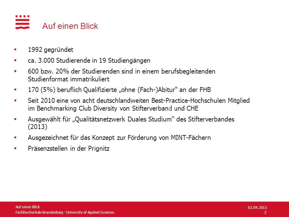 Fachhochschule Brandenburg · University of Applied Sciences Studienangebote Fachbereich Informatik und Medien Grad Applied Computer Science (international) B.