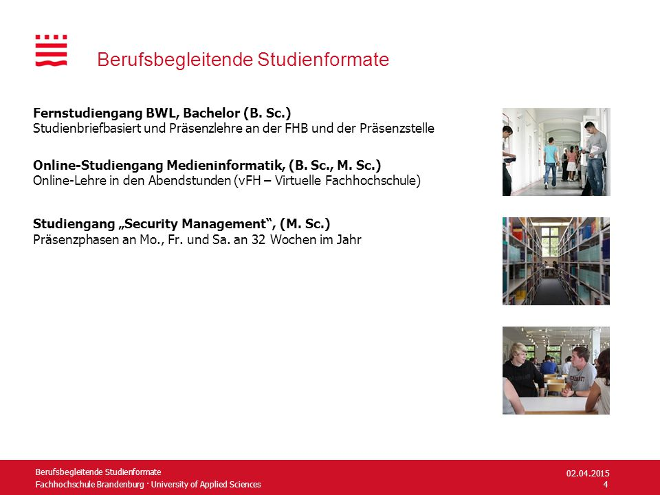 Fachhochschule Brandenburg · University of Applied Sciences Berufsbegleitende Studienformate Fernstudiengang BWL, Bachelor (B.