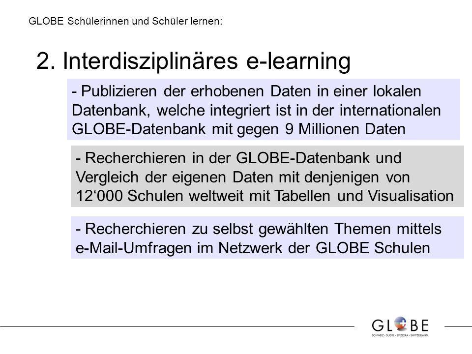 2. Interdisziplinäres e-learning - Publizieren der erhobenen Daten in einer lokalen Datenbank, welche integriert ist in der internationalen GLOBE-Date