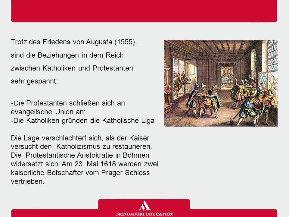 In der ersten Phase wollen die Bohemischen Protestanten den Kaiser absetzten und sie bieten Friedrich V, Prinz der Pfalz und Chef der evangelischen Union die Krone an.