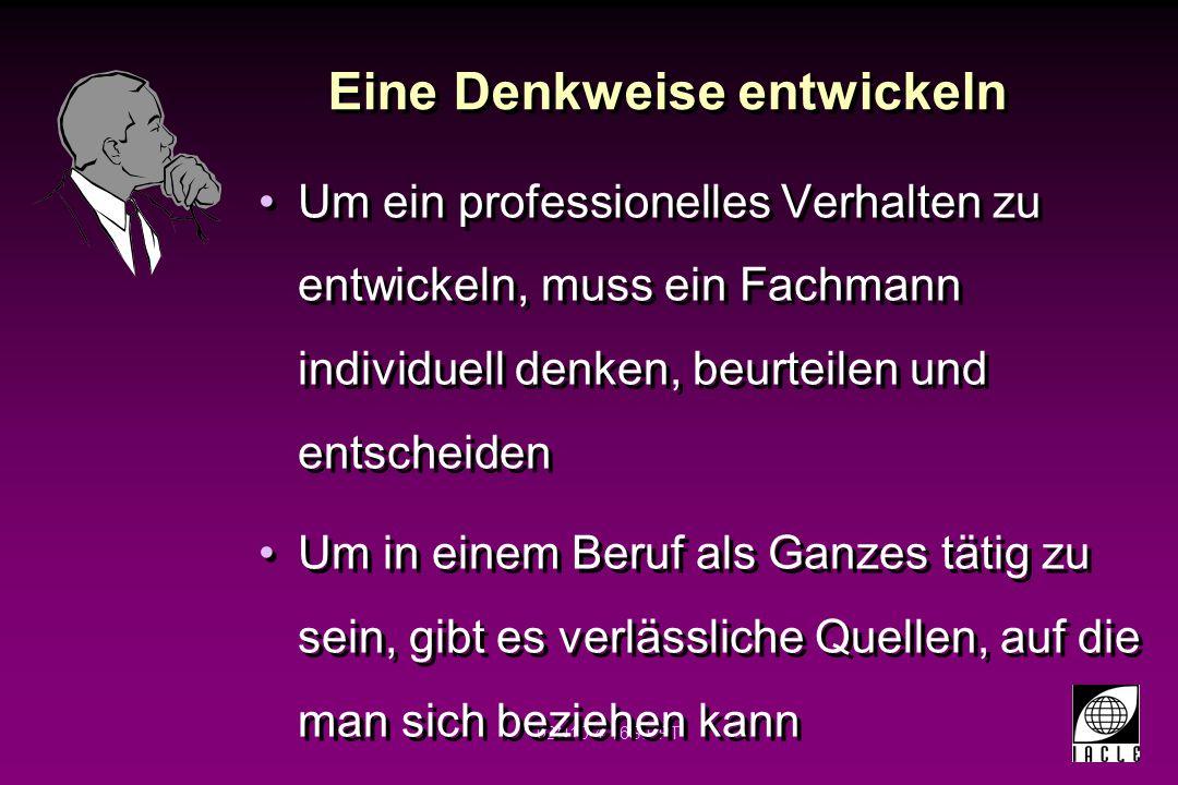 02N10-4-16S.PPT Eine Denkweise entwickeln Um ein professionelles Verhalten zu entwickeln, muss ein Fachmann individuell denken, beurteilen und entsche