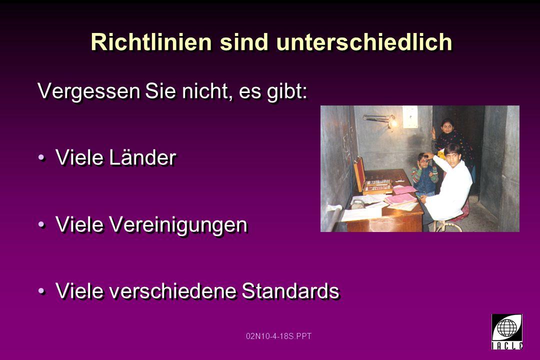 02N10-4-18S.PPT Richtlinien sind unterschiedlich Vergessen Sie nicht, es gibt: Viele Länder Viele Vereinigungen Viele verschiedene Standards
