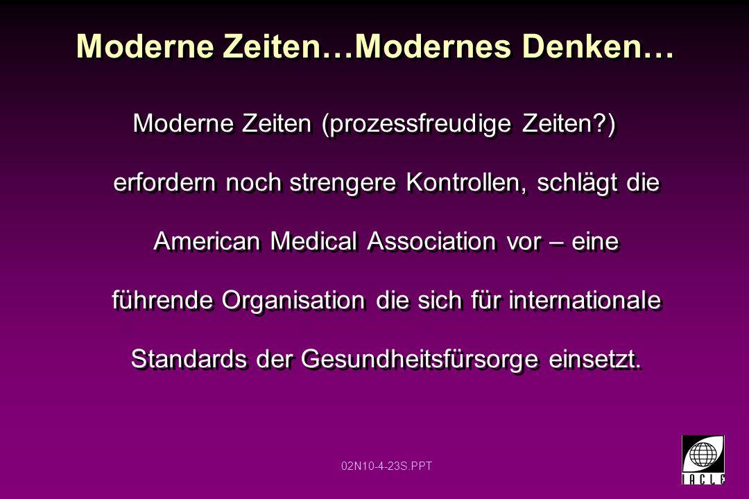 02N10-4-23S.PPT Moderne Zeiten…Modernes Denken… Moderne Zeiten (prozessfreudige Zeiten?) erfordern noch strengere Kontrollen, schlägt die American Medical Association vor – eine führende Organisation die sich für internationale Standards der Gesundheitsfürsorge einsetzt.