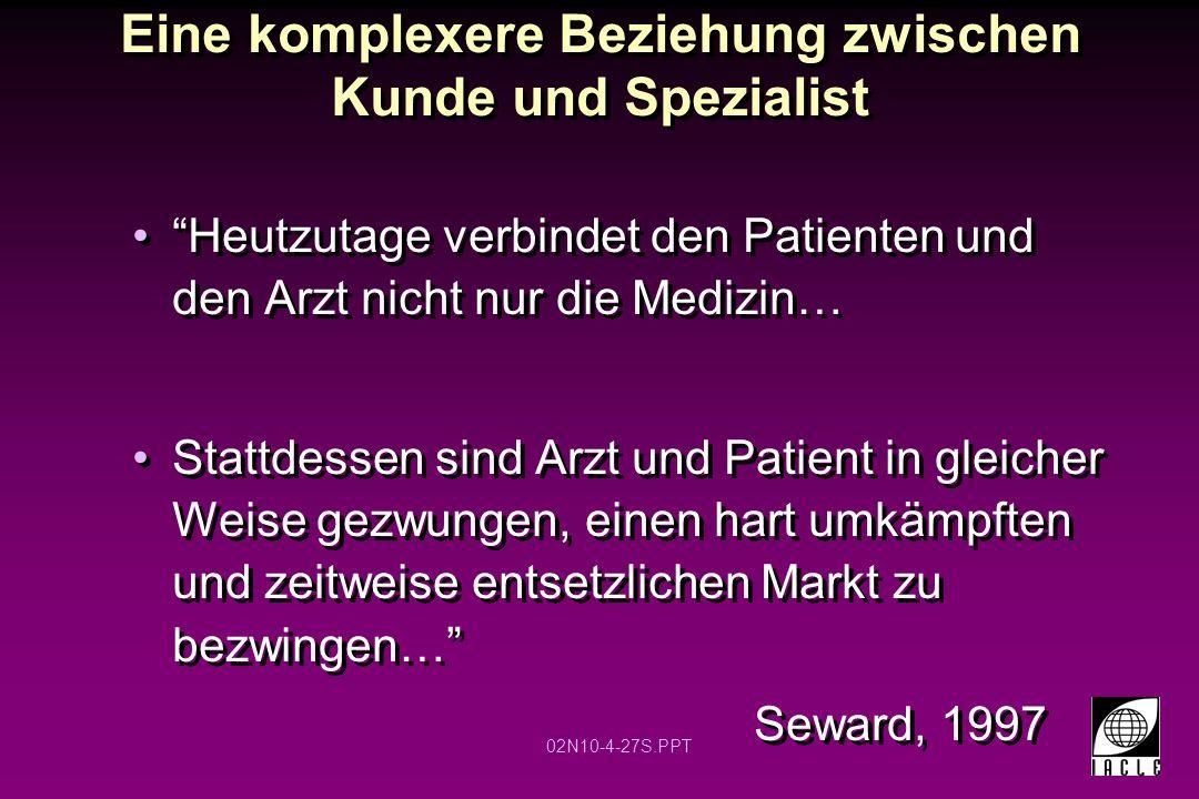 """02N10-4-27S.PPT Eine komplexere Beziehung zwischen Kunde und Spezialist """"Heutzutage verbindet den Patienten und den Arzt nicht nur die Medizin… Stattd"""