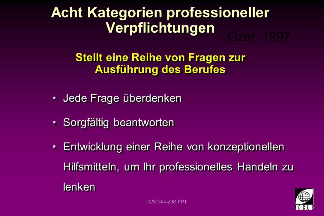02N10-4-29S.PPT Acht Kategorien professioneller Verpflichtungen Stellt eine Reihe von Fragen zur Ausführung des Berufes Jede Frage überdenken Sorgfält