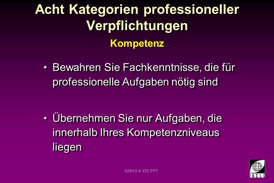 02N10-4-33S.PPT Acht Kategorien professioneller Verpflichtungen Bewahren Sie Fachkenntnisse, die für professionelle Aufgaben nötig sind Übernehmen Sie nur Aufgaben, die innerhalb Ihres Kompetenzniveaus liegen Kompetenz