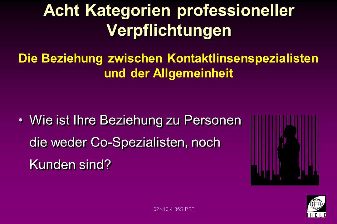 02N10-4-36S.PPT Acht Kategorien professioneller Verpflichtungen Wie ist Ihre Beziehung zu Personen die weder Co-Spezialisten, noch Kunden sind? Die Be