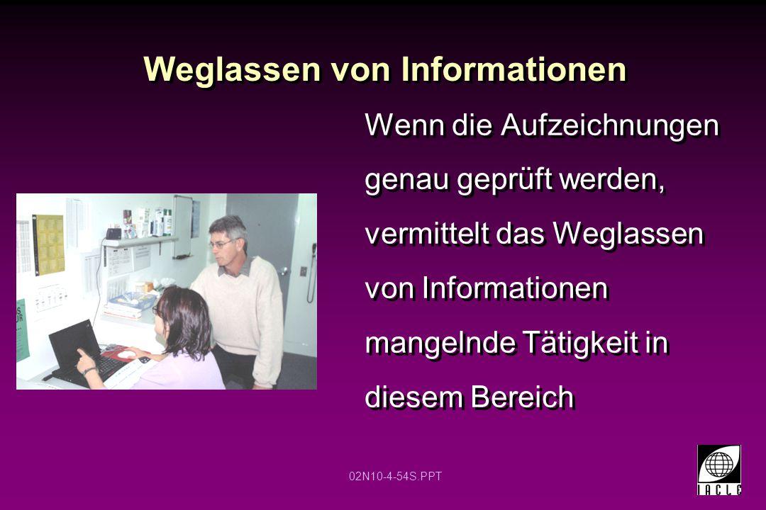02N10-4-54S.PPT Weglassen von Informationen Wenn die Aufzeichnungen genau geprüft werden, vermittelt das Weglassen von Informationen mangelnde Tätigkeit in diesem Bereich
