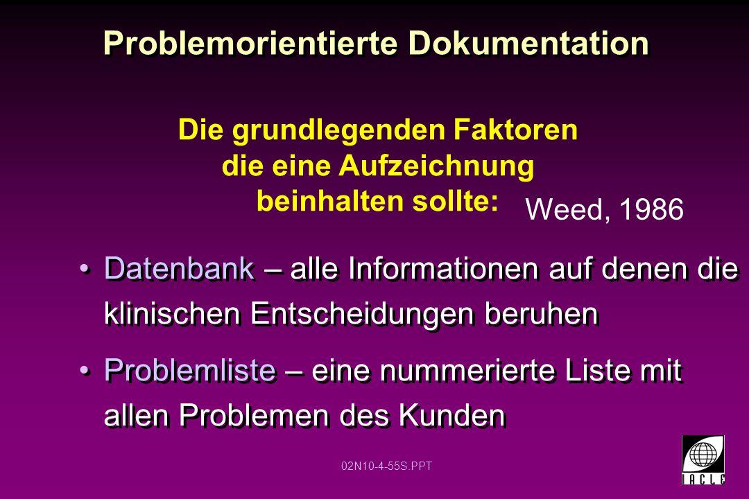 02N10-4-55S.PPT Problemorientierte Dokumentation Datenbank – alle Informationen auf denen die klinischen Entscheidungen beruhen Problemliste – eine nu