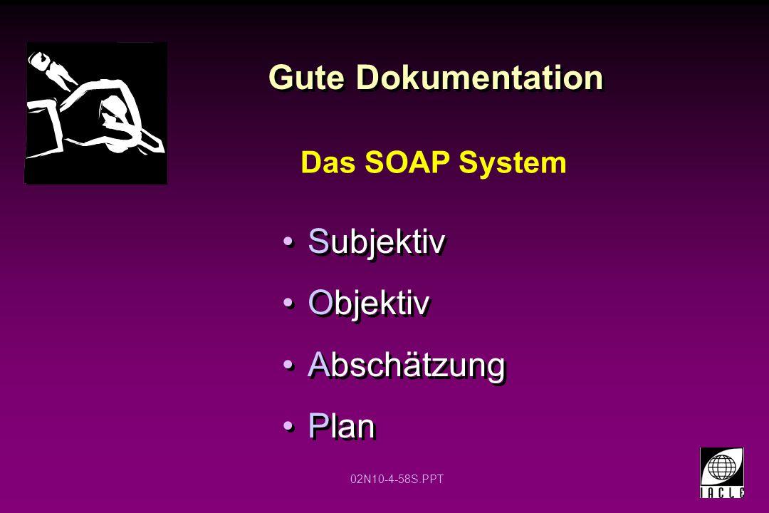 02N10-4-58S.PPT Gute Dokumentation Subjektiv Objektiv Abschätzung Plan Subjektiv Objektiv Abschätzung Plan Das SOAP System