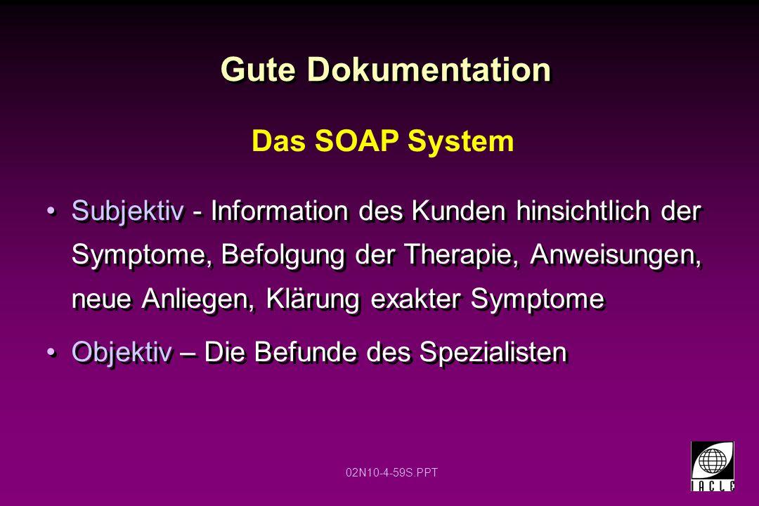 02N10-4-59S.PPT Gute Dokumentation Subjektiv - Information des Kunden hinsichtlich der Symptome, Befolgung der Therapie, Anweisungen, neue Anliegen, K