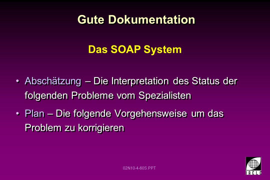 02N10-4-60S.PPT Gute Dokumentation Abschätzung – Die Interpretation des Status der folgenden Probleme vom Spezialisten Plan – Die folgende Vorgehenswe