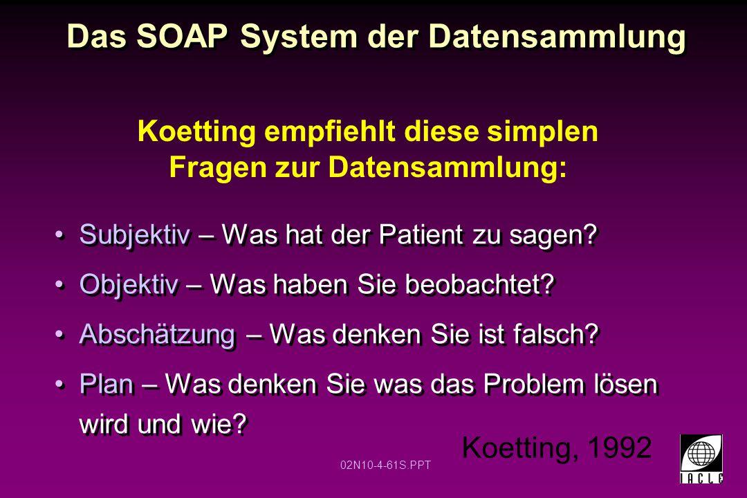 02N10-4-61S.PPT Das SOAP System der Datensammlung Subjektiv – Was hat der Patient zu sagen? Objektiv – Was haben Sie beobachtet? Abschätzung – Was den