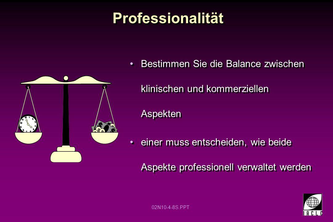 02N10-4-8S.PPT Professionalität Bestimmen Sie die Balance zwischen klinischen und kommerziellen Aspekten einer muss entscheiden, wie beide Aspekte professionell verwaltet werden