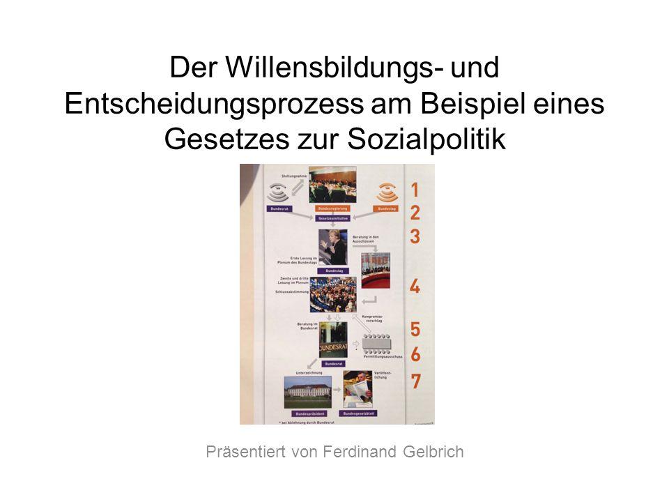 Der Willensbildungs- und Entscheidungsprozess am Beispiel eines Gesetzes zur Sozialpolitik Präsentiert von Ferdinand Gelbrich