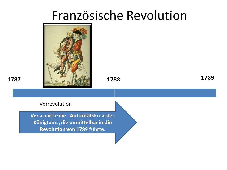 Französische Revolution 17871788 Vorrevolution Verschärfte die –Autoritätskrise des Königtums, die unmittelbar in die Revolution von 1789 führte.