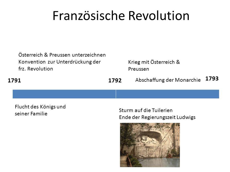 Französische Revolution 17911792 1793 Flucht des Königs und seiner Familie Österreich & Preussen unterzeichnen Konvention zur Unterdrückung der frz.
