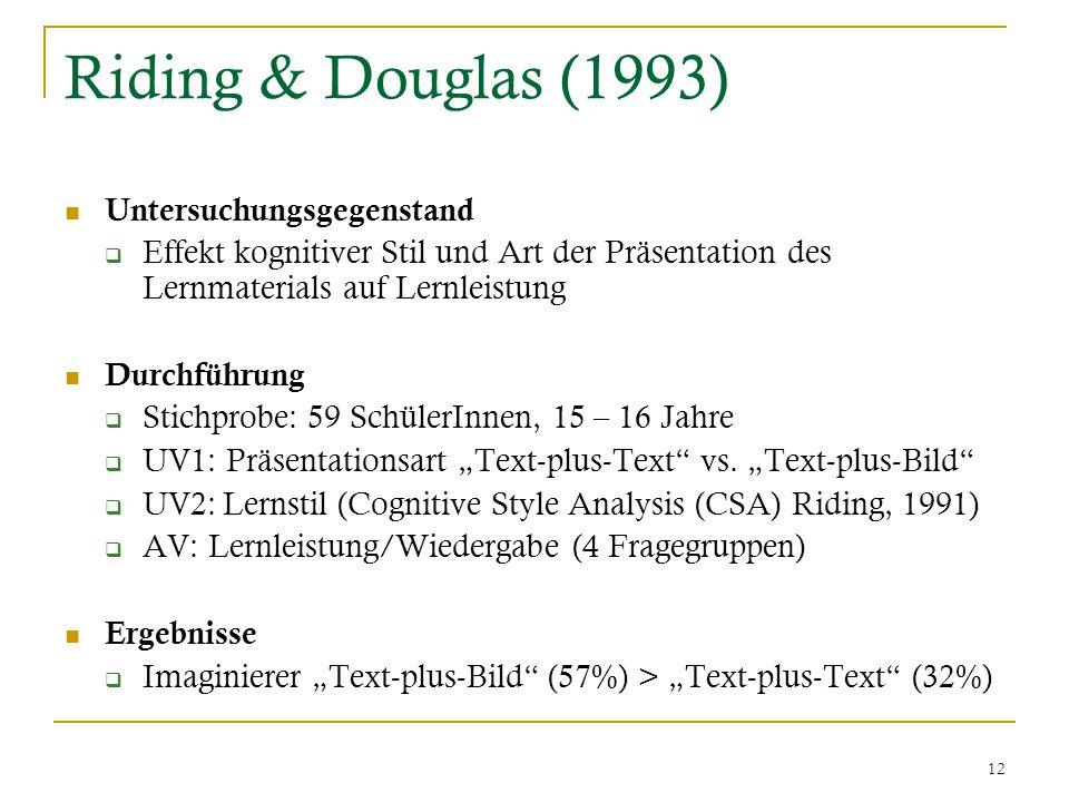 """12 Riding & Douglas (1993) Untersuchungsgegenstand  Effekt kognitiver Stil und Art der Präsentation des Lernmaterials auf Lernleistung Durchführung  Stichprobe: 59 SchülerInnen, 15 – 16 Jahre  UV1: Präsentationsart """"Text-plus-Text vs."""