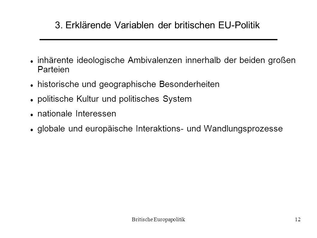 Britische Europapolitik12 3. Erklärende Variablen der britischen EU-Politik inhärente ideologische Ambivalenzen innerhalb der beiden großen Parteien h