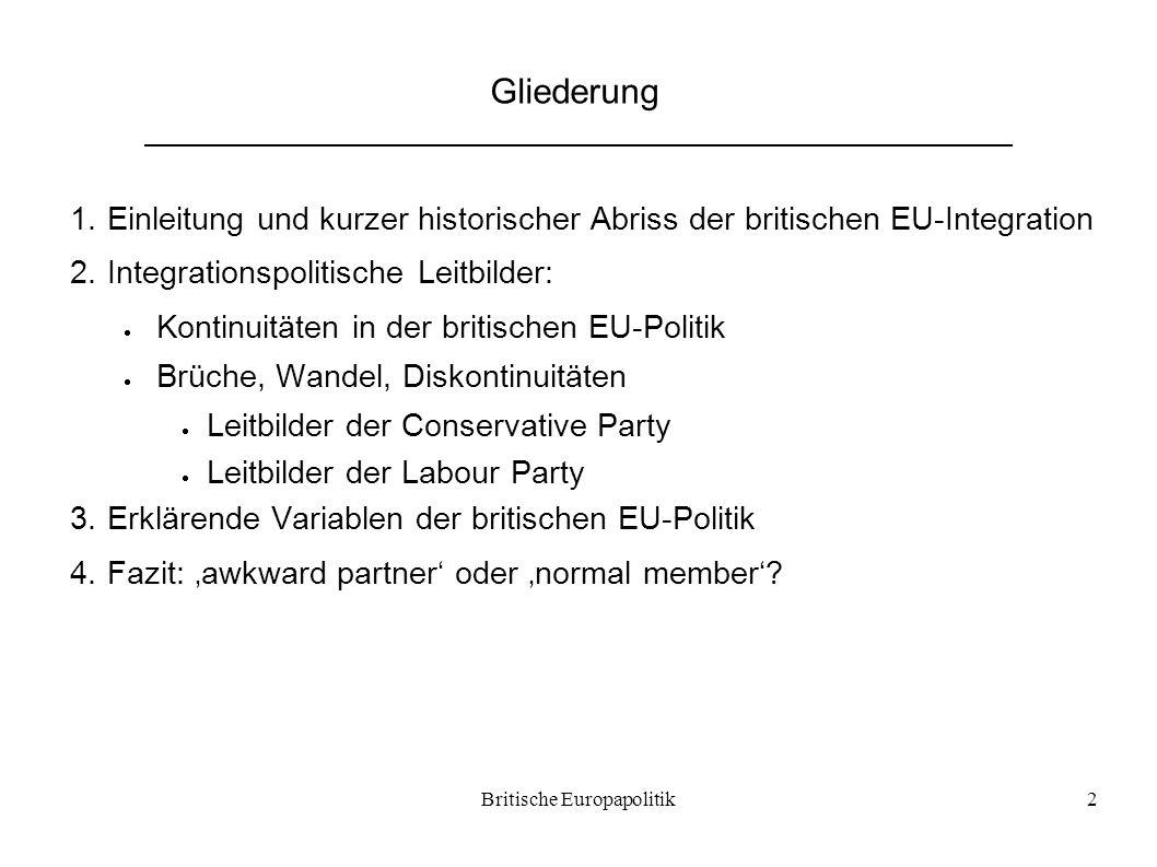 Britische Europapolitik2 Gliederung 1.Einleitung und kurzer historischer Abriss der britischen EU-Integration 2.Integrationspolitische Leitbilder:  K
