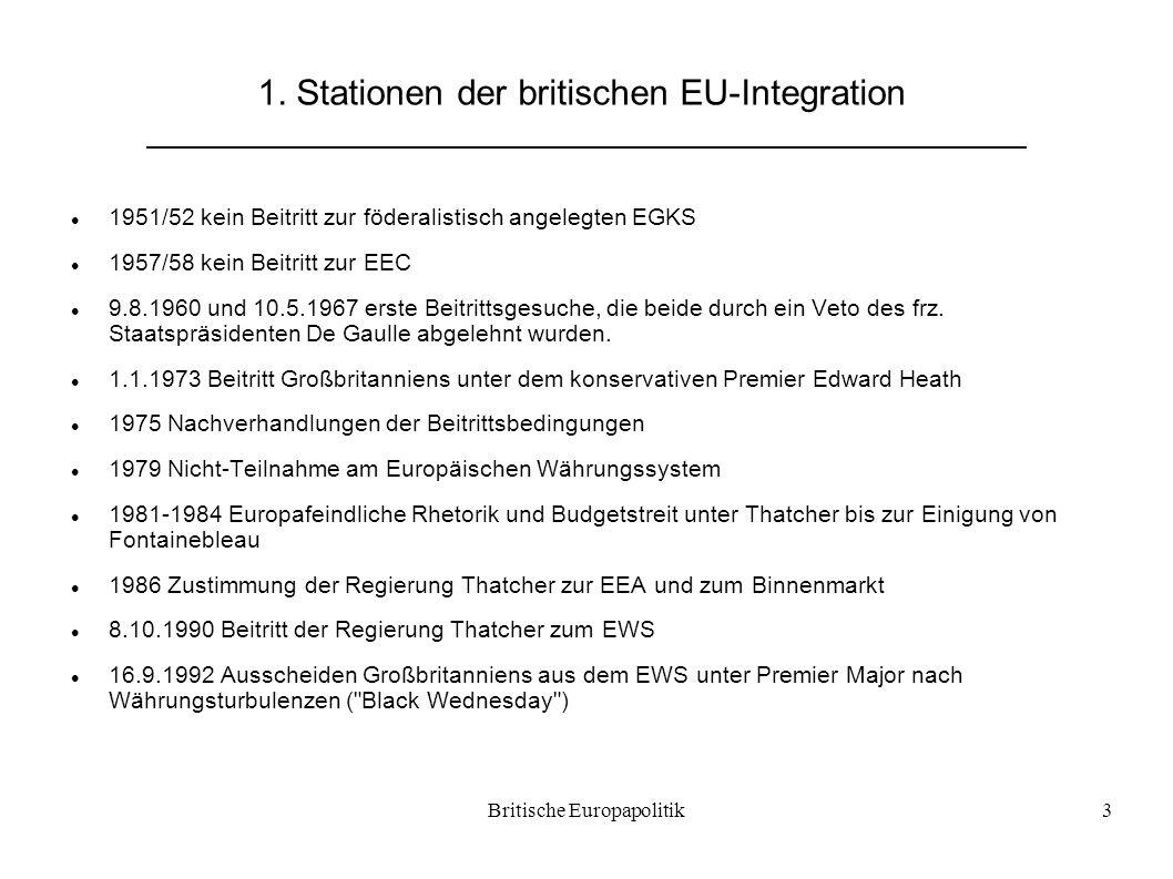 Britische Europapolitik3 1. Stationen der britischen EU-Integration 1951/52 kein Beitritt zur föderalistisch angelegten EGKS 1957/58 kein Beitritt zur