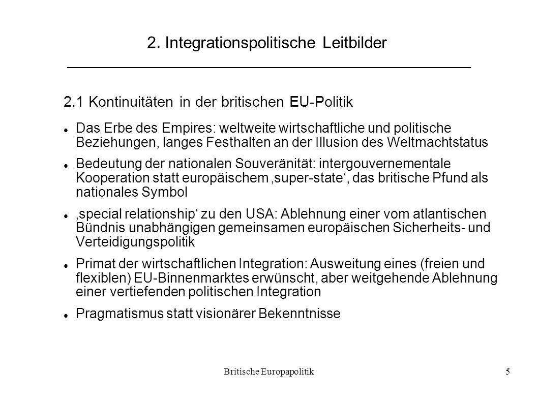 Britische Europapolitik5 2. Integrationspolitische Leitbilder 2.1 Kontinuitäten in der britischen EU-Politik Das Erbe des Empires: weltweite wirtschaf