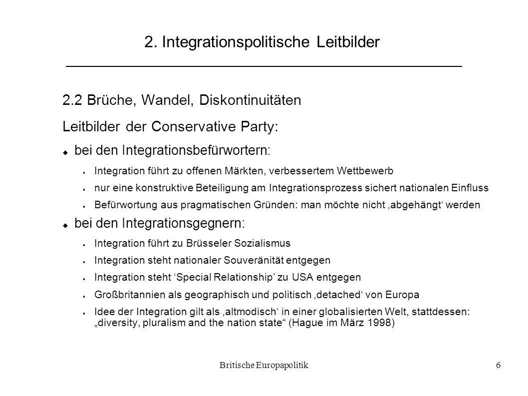 Britische Europapolitik6 2. Integrationspolitische Leitbilder 2.2 Brüche, Wandel, Diskontinuitäten Leitbilder der Conservative Party:  bei den Integr