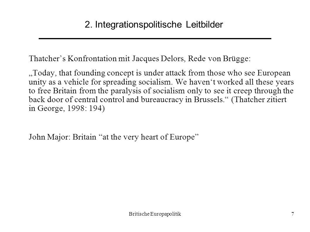 """Britische Europapolitik7 2. Integrationspolitische Leitbilder Thatcher's Konfrontation mit Jacques Delors, Rede von Brügge: """"Today, that founding conc"""