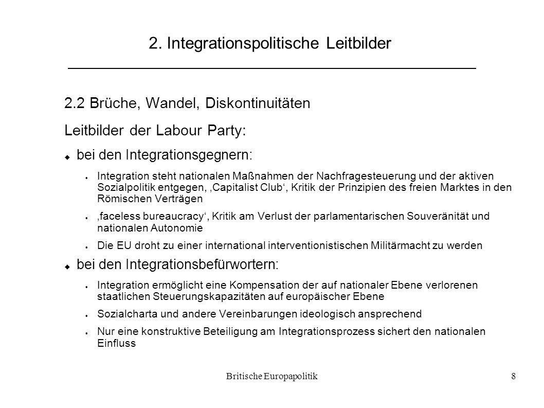 Britische Europapolitik8 2. Integrationspolitische Leitbilder 2.2 Brüche, Wandel, Diskontinuitäten Leitbilder der Labour Party:  bei den Integrations
