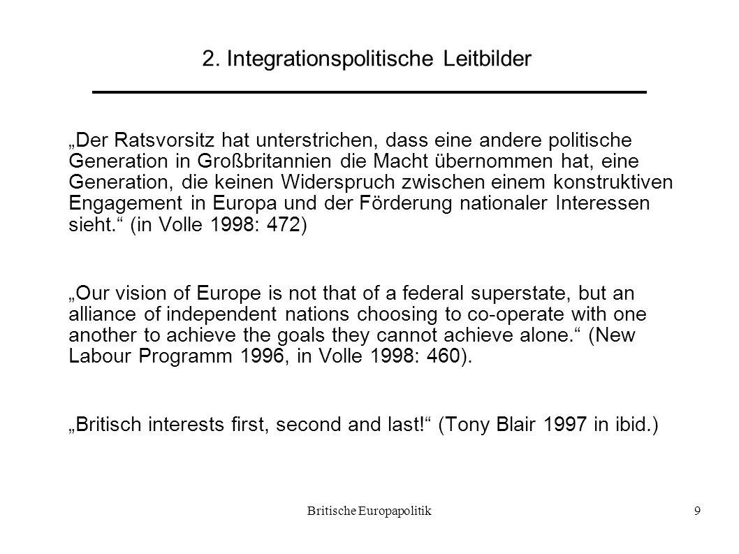 """Britische Europapolitik9 2. Integrationspolitische Leitbilder """"Der Ratsvorsitz hat unterstrichen, dass eine andere politische Generation in Großbritan"""