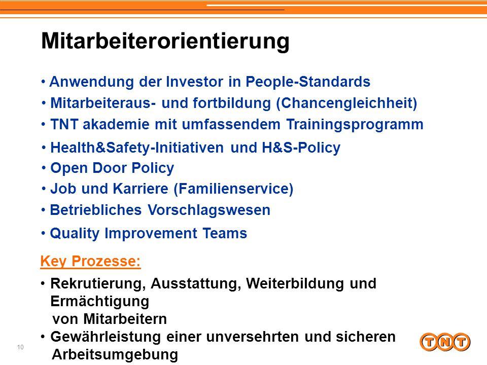 10 Mitarbeiterorientierung Anwendung der Investor in People-Standards Mitarbeiteraus- und fortbildung (Chancengleichheit) Open Door Policy TNT akademi