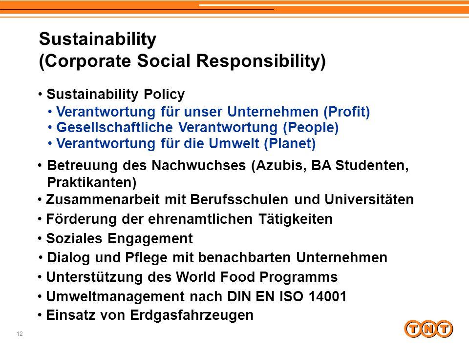 12 Sustainability (Corporate Social Responsibility) Verantwortung für unser Unternehmen (Profit) Betreuung des Nachwuchses (Azubis, BA Studenten, Prak