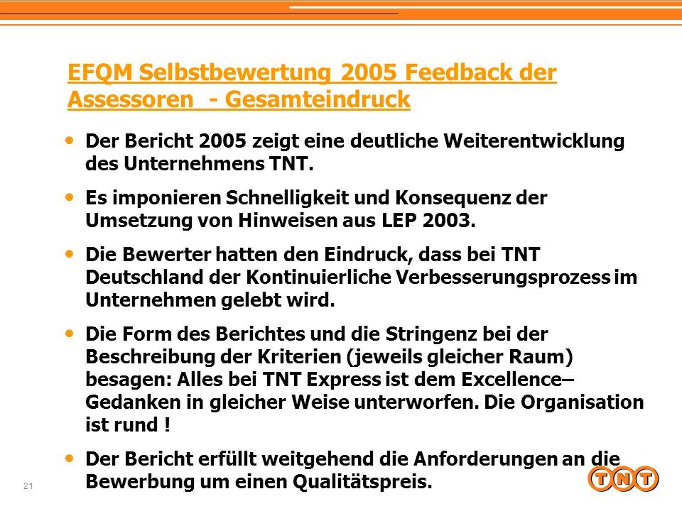 21 EFQM Selbstbewertung 2005 Feedback der Assessoren - Gesamteindruck Der Bericht 2005 zeigt eine deutliche Weiterentwicklung des Unternehmens TNT. Es