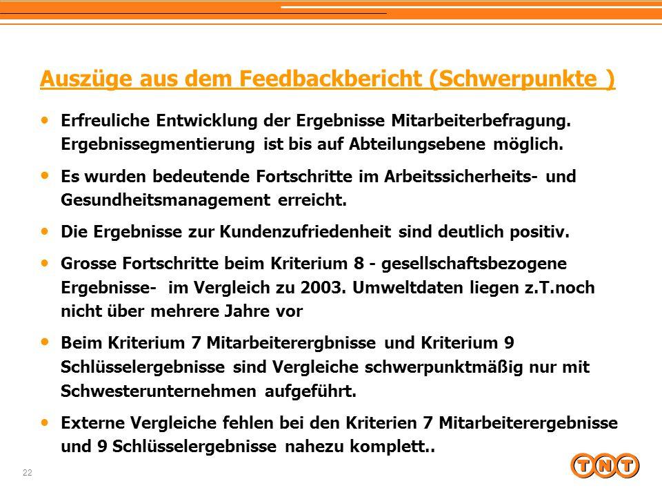 22 Auszüge aus dem Feedbackbericht (Schwerpunkte ) Erfreuliche Entwicklung der Ergebnisse Mitarbeiterbefragung.