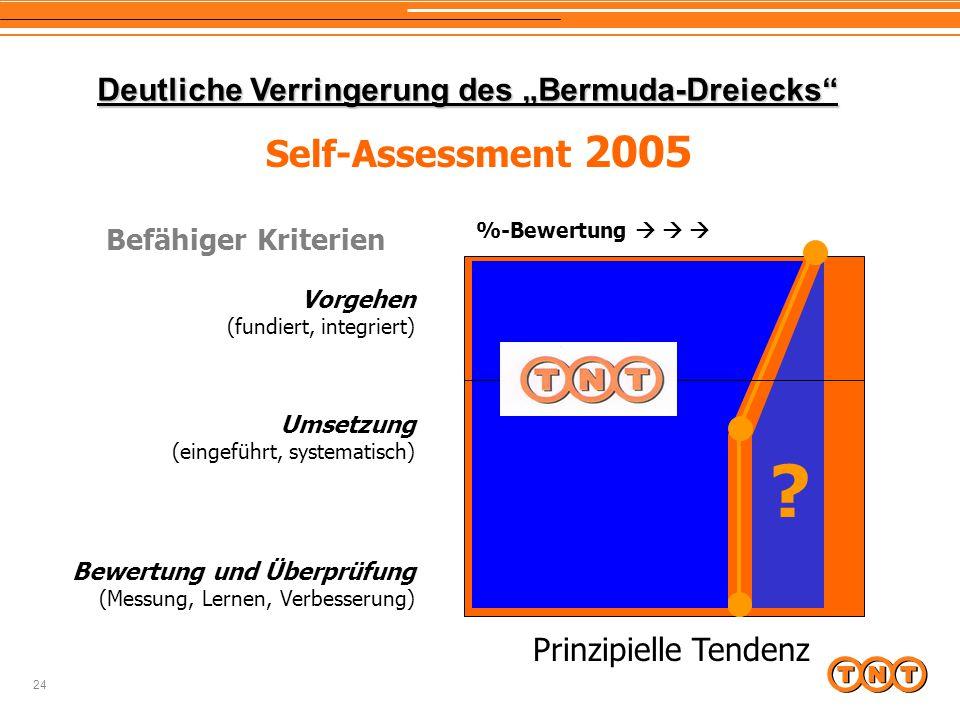 """24 Prinzipielle Tendenz ? %-Bewertung    Deutliche Verringerung des """"Bermuda-Dreiecks"""" Self-Assessment 2005 Vorgehen (fundiert, integriert) Umsetzu"""