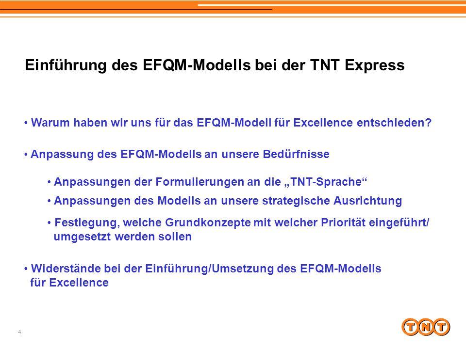 4 Einführung des EFQM-Modells bei der TNT Express Warum haben wir uns für das EFQM-Modell für Excellence entschieden? Anpassung des EFQM-Modells an un