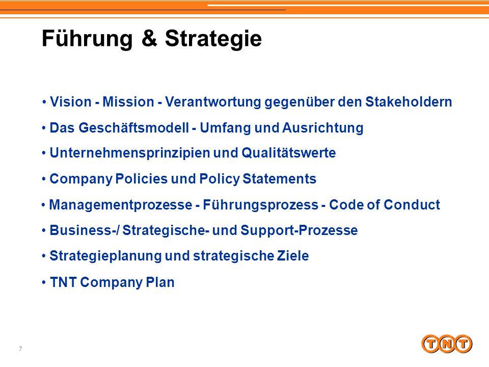 7 Führung & Strategie Vision - Mission - Verantwortung gegenüber den Stakeholdern Business-/ Strategische- und Support-Prozesse Managementprozesse - F