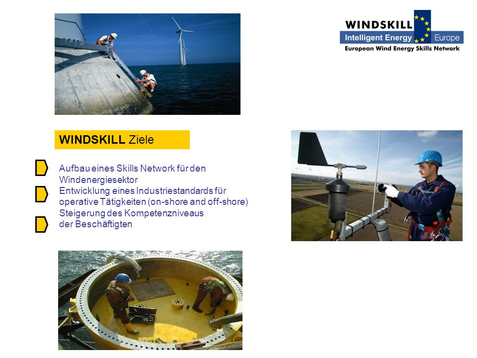 WINDSKILL Ziele Aufbau eines Skills Network für den Windenergiesektor Entwicklung eines Industriestandards für operative Tätigkeiten (on-shore and off