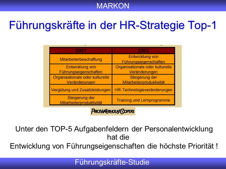 MARKON Führungskräfte-Studie Führungskräfte in der HR-Strategie Top-1 Er Unter den TOP-5 Aufgabenfeldern der Personalentwicklung hat die Entwicklung v