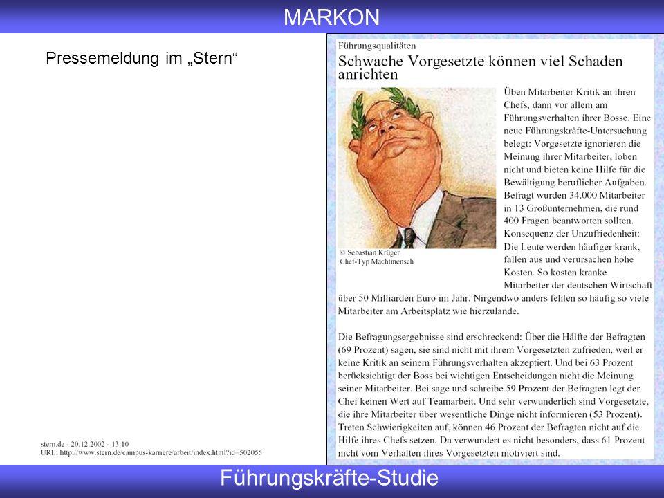 """MARKON Führungskräfte-Studie Pressemeldung im """"Stern"""""""