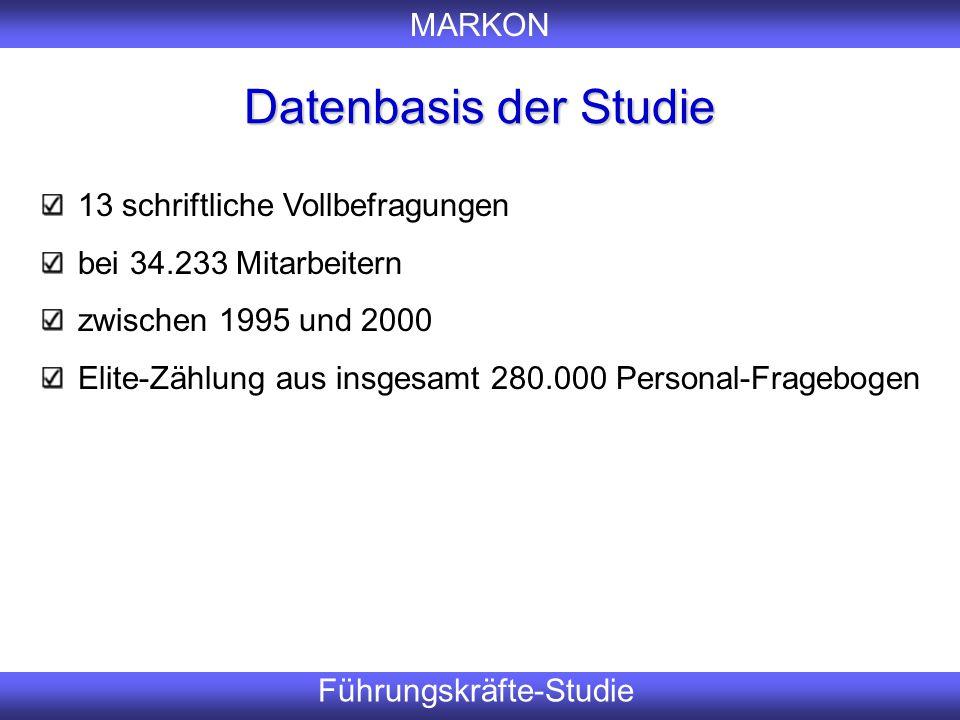 MARKON Führungskräfte-Studie Datenbasis der Studie Er 13 schriftliche Vollbefragungen bei 34.233 Mitarbeitern zwischen 1995 und 2000 Elite-Zählung aus