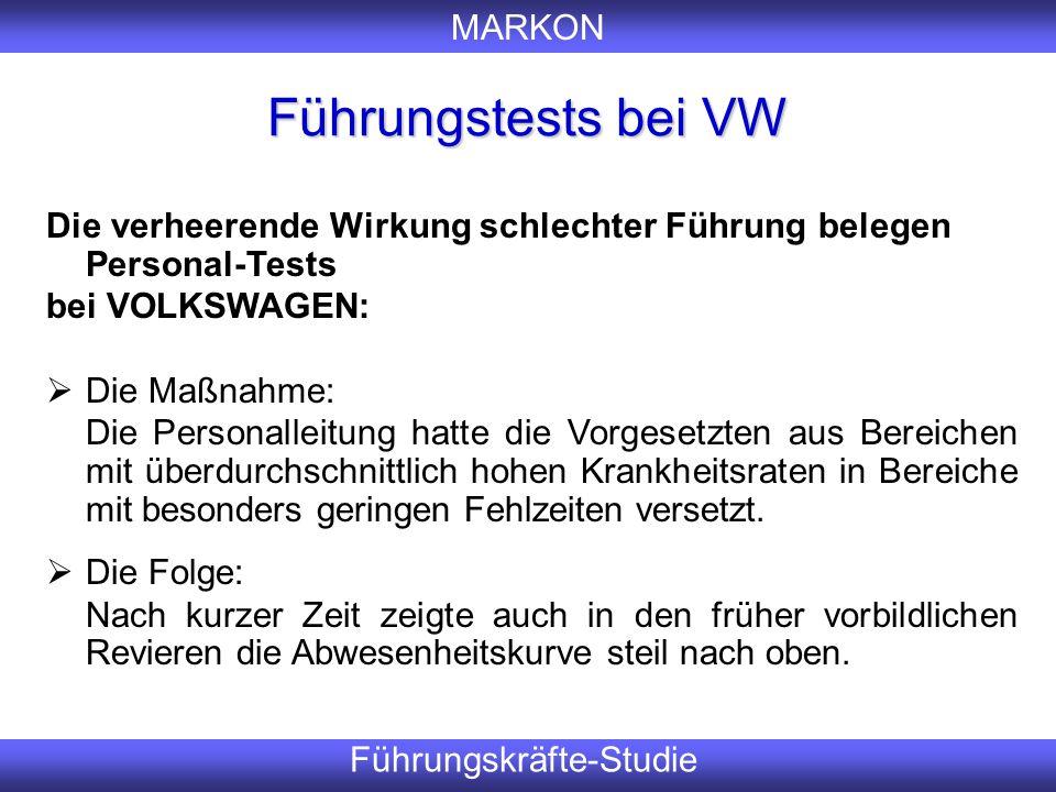 MARKON Führungskräfte-Studie Führungstests bei VW Er Die verheerende Wirkung schlechter Führung belegen Personal-Tests bei VOLKSWAGEN:  Die Maßnahme: