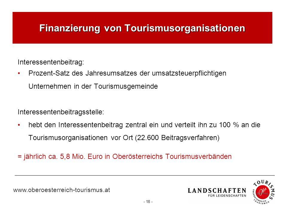 www.oberoesterreich-tourismus.at - 18 - Finanzierung von Tourismusorganisationen Interessentenbeitrag: Prozent-Satz des Jahresumsatzes der umsatzsteue