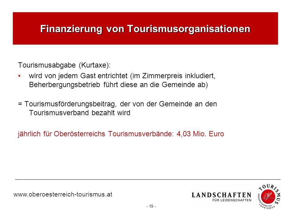 www.oberoesterreich-tourismus.at - 19 - Finanzierung von Tourismusorganisationen Tourismusabgabe (Kurtaxe): wird von jedem Gast entrichtet (im Zimmerp