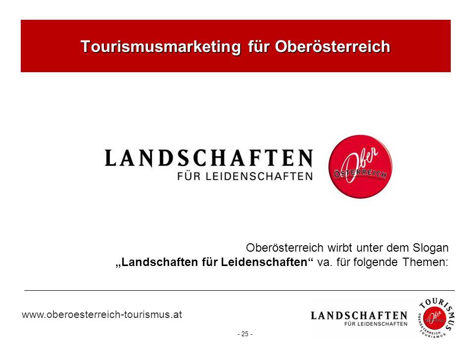 """www.oberoesterreich-tourismus.at - 25 - Tourismusmarketing für Oberösterreich Oberösterreich wirbt unter dem Slogan """"Landschaften für Leidenschaften"""""""