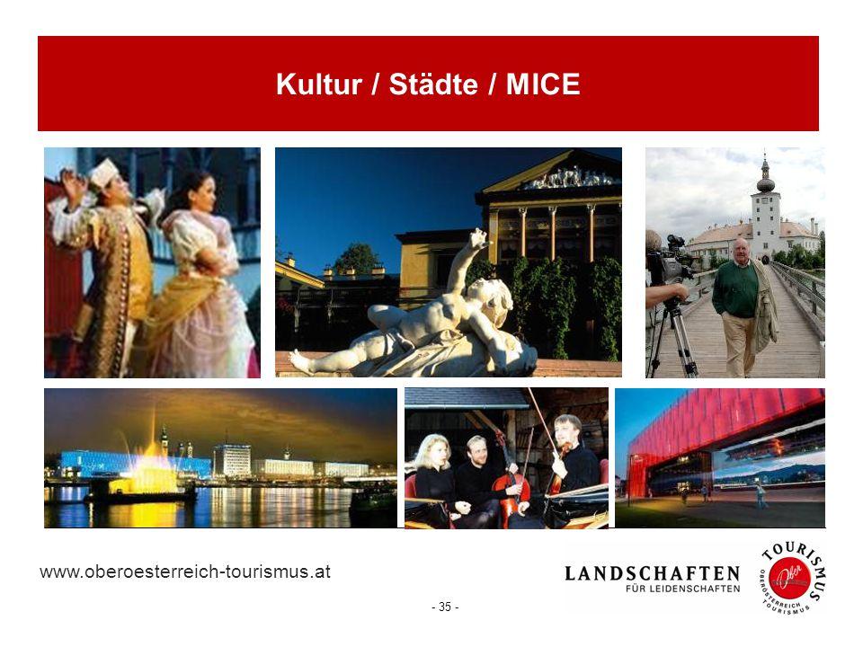 www.oberoesterreich-tourismus.at - 35 - Kultur / Städte / MICE