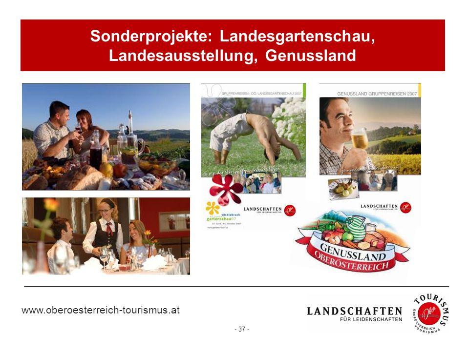 www.oberoesterreich-tourismus.at - 37 - Sonderprojekte: Landesgartenschau, Landesausstellung, Genussland