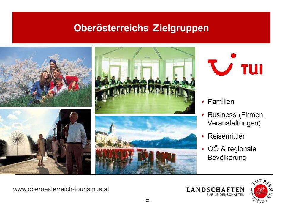 www.oberoesterreich-tourismus.at - 38 - Oberösterreichs Zielgruppen Familien Business (Firmen, Veranstaltungen) Reisemittler OÖ & regionale Bevölkerun