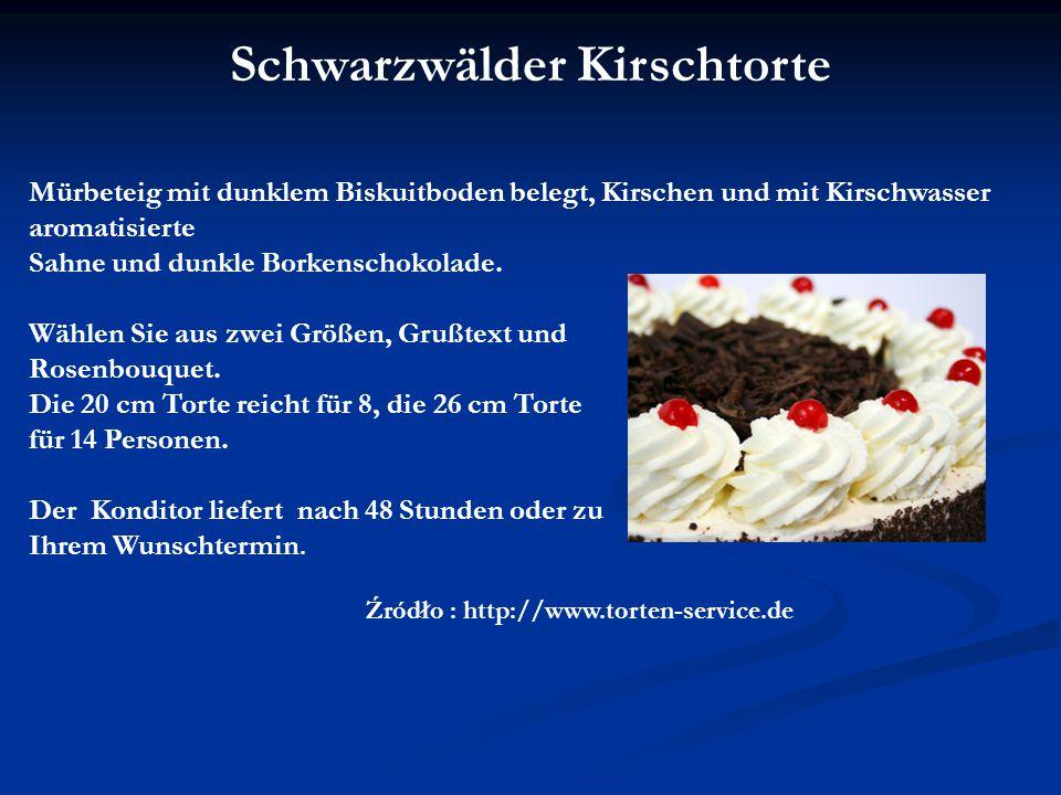 Mürbeteig mit dunklem Biskuitboden belegt, Kirschen und mit Kirschwasser aromatisierte Sahne und dunkle Borkenschokolade.