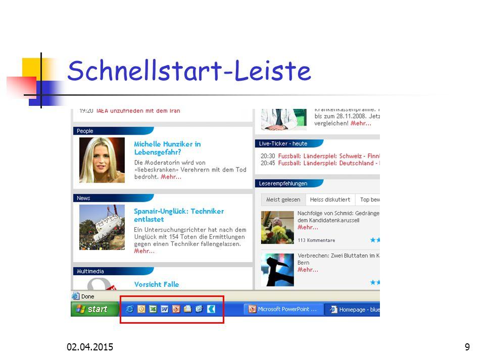 02.04.20159 Schnellstart-Leiste